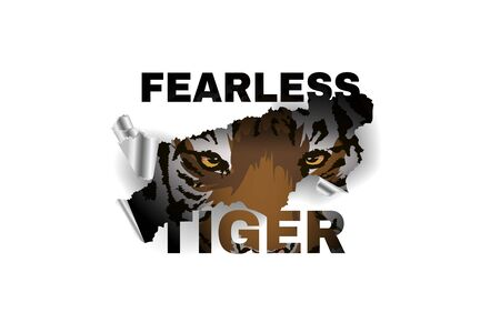 Wild slogan ripped off with tiger. Claw scratches vector illustration, t-shirt design. 版權商用圖片 - 138000241