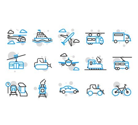 Set of Public Transport Related Vector Line Icons.Vector elements, ready to use. EPS10  Çizim