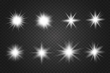 Set of Glowing Light Stars with Sparkles.  Lens flares, rays, stars and sparkles with bokeh collection