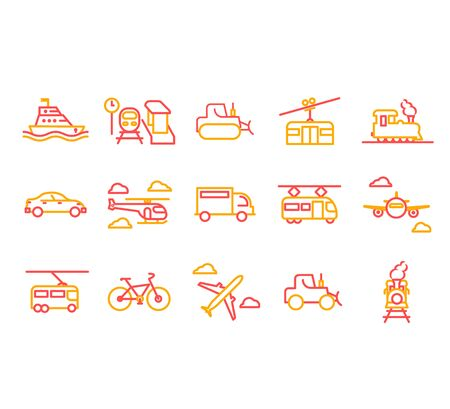 Set of Public Transport Related Vector Line Icons.Vector illustration EPS10