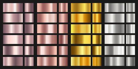 Zestaw złota, srebra, brązu i róża tekstura tła. Błyszcząca i metaliczna kolekcja gradientów do chromowanej ramki, ramki. Ilustracje wektorowe