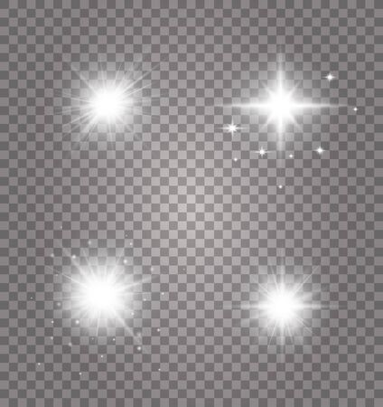 Glow isolated white transparent light effect set. Glowing lights effect, flare, explosion and stars.Bright Star. Transparent shining sun, bright flash. Vector sparkles.