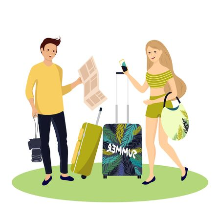 Happy couple of tourists with travel bag. Illustration of summer tourist character, woman and man