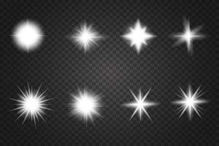 Set of Glowing Light Stars with Sparkles. Abstract white lights isolated on a transparent background. Bright white flashes and glares.