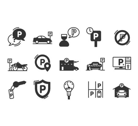 Parking line icons. Car garage and parking line vector symbols.Valet servant and Paid transport parking icons. Quality line set. Vector