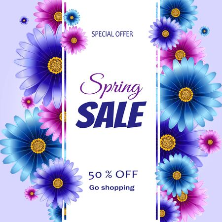 Spring sale banner with flowers. Sale Flyer, Sale Vector. 50% Off. Standard-Bild - 138765485