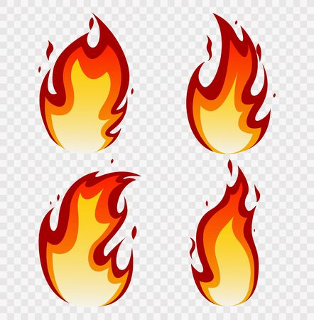 Fires image, hot flaming ignition, flammable blaze heat explosion danger flames energy vector concept for Web, Game Design Flat Style. Vector illustration