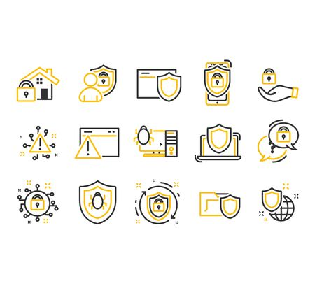 Cyber Security Thin Line icons set. Computer network protection.
