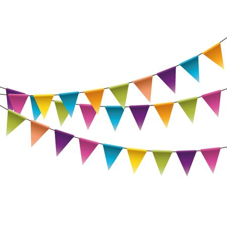 Carnival garland with flags. Decorative colorful party pennants for birthday celebration Vector Illustration