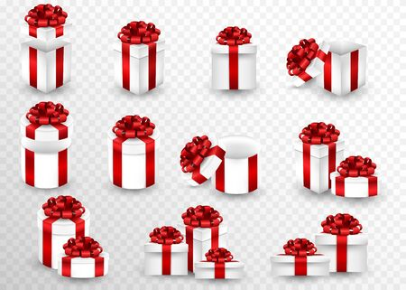 Set gift carboxes on a transparent screen. Gift boxes of various shapes wrapped in a red ribbon and with a bow on top. Empty open gift box set with red color bow knot and ribbon