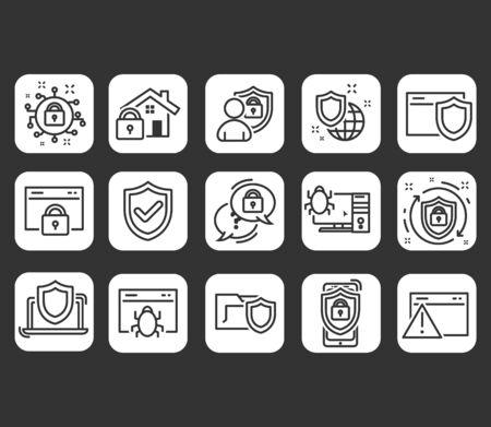 Internet security line icons set. Modern outline elements, graphic design concepts