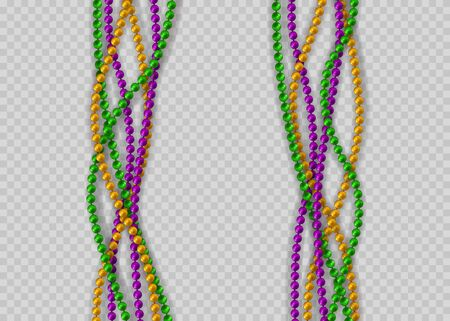 Multicolored beads on a white background. Beautiful chain of different colors. Vector illustration EPS10