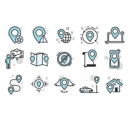 :ocation icons with pin elements 向量圖像