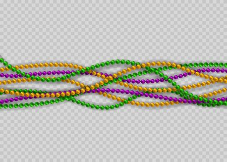Beads on a transparent background. Beautiful chain of different colors. Realistic elements for design Mardi Gras. Beads Isolated on transparent
