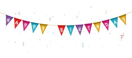 Two triangle flag garlands with Happy Birthday text. happy holiday card.