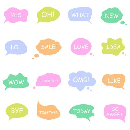 Bubble talk phrases. Online chat clouds with different words comments 일러스트