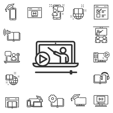 Thin line icons set of e-learning and online education. Graduation cap, Instructions and Presentation. Internet Lectures, Charts and Idea symbols.