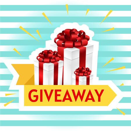 Giveaway gift box with yellow ribbon for social media post or website banner