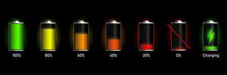 Vector batteries set, full charge. Glass realistic power battery. Recharge battery indicator. Low power mibile fuel.