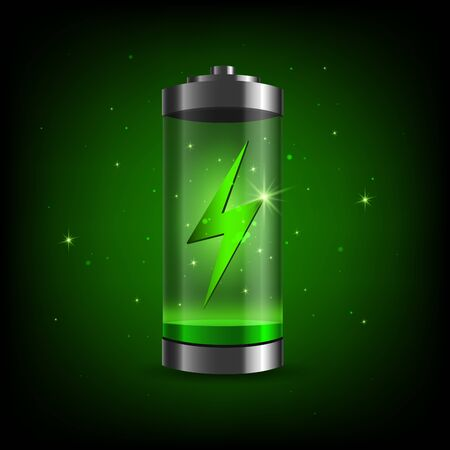Fully charged green battery and short circuit .Detailed glossy battery full level indicator icon