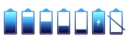 Discharged and fully charged battery smartphone. Battery charge status. Set of battery icon Vetores