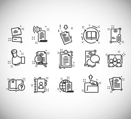 Set of Legal Documents Related Vector Line Icons. Contains icons as contract, certificate, attachment, invoice, deed of sale and more. Stockfoto - 142114483
