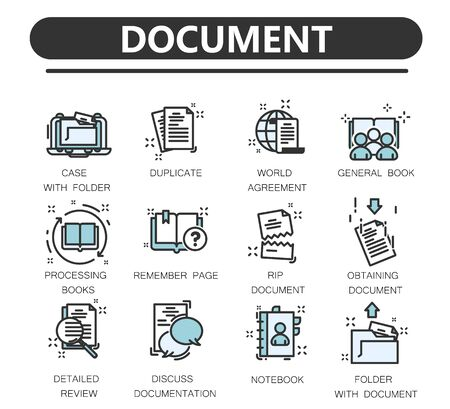 Set of documents thin line icons.  Contains such Icons as Declaration, Permission, Grant and more.