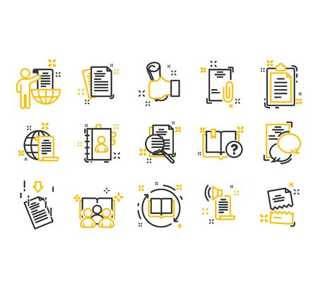 Set of documents thin line icons. Contains such Icons as Inspector, Stamp, Check List and more.