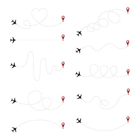 Airplane dotted path, aircraft tracking, trace or road vector illustration.Aircrafts and pins vector symbols. Airplane moving pathway, aeroplane silhouette route illustration