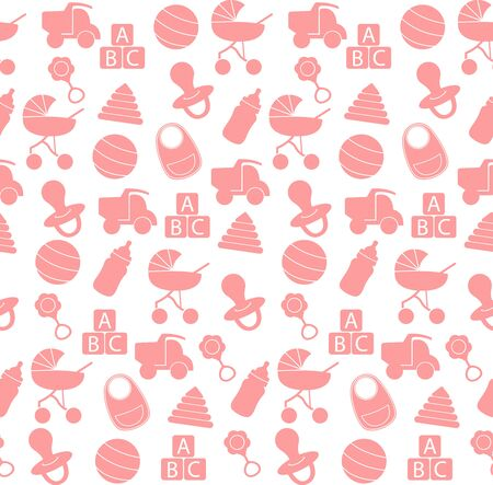 Seamless pattern baby set on white background. Pink Baby toys seamless pattern. Cute background for baby boy, girl shower party, invitation template