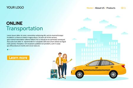 Taxi service. Mobile phone with taxi app and yellow taxi. People using online ordering taxi car sharing mobile application concept transportation carsharing service app. Ilustración de vector