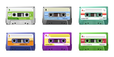 Vintage tape cassette. Retro mixtape, 1980s pop songs tapes. disco dance audiocassette, analogue player record cassette.Vector old school music cassette for media player