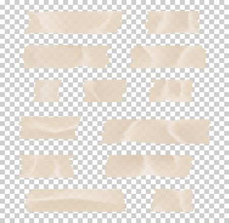 Set of transparent adhesive tape and adhesive tape. Adhesive tape set. Sticky paper strip isolated on transparent background. Vettoriali