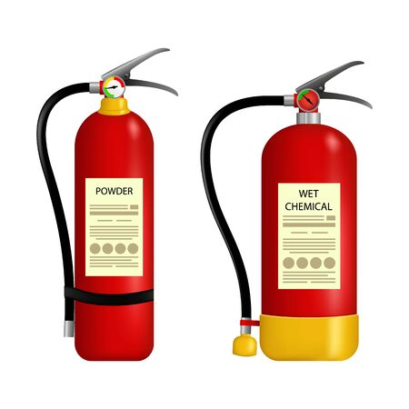 Fire extinguisher protection set isolated on transparent. Firefighters tools for flame fighting attention colored vector symbols for fire station