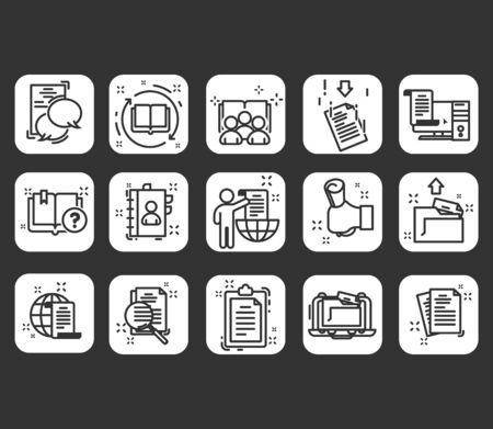 Vector icon set of legal documents in thin line style. Contains such Icons as Inspector, Stamp, Check List and more.
