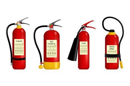 Fire Extinguisher Vector. Metal Glossiness 3D Realistic Red Fire Extinguisher. Red fire extinguisher emergency danger.