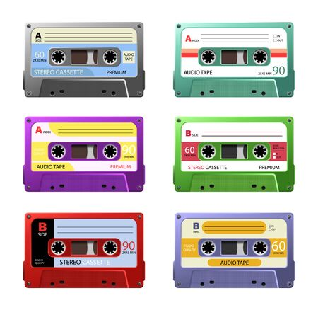 Retro Cassettes. Vintage tape cassette. Retro mixtape, 1980s pop songs tapes and stereo music cassettes.