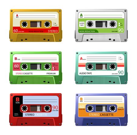 Vintage music cassettes. Retro dj sound tape, 1980s rave party stereo mix. 90s hifi disco dance audiocassette, analogue player record cassette. Isolated symbols vector set Stock Illustratie
