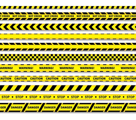 Caution lines isolated. Warning tapes. Danger signs. It is written on tapes not cross, warning, caution, stop, denger.