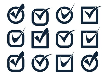 Approved symbol, check mark list icons. Vote mark web sign icon symbol flag icons choose yes symbol and correct design
