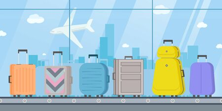 Baggage Belt Conveyor. Suitcases or luggage with conveyor belt in the airport