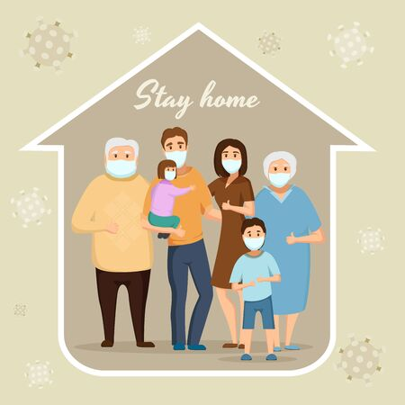 A large family under the roof of the housewears a surgical mask to prevent the Covid-19 virus in the house of the icon Grandfather, Grandmother, Dad, mom, son, daughter . Illustration
