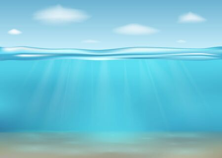 Realistic deep underwater sea. Banner with horizontal transparent water surface. Underwater  deep sea. Vector illustration. Vectores