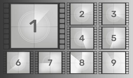 Vintage retro cinema. Countdown frame.Cinema film countdown old movie films. Vector illustration. Vectores