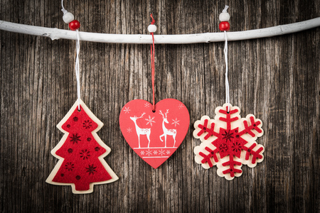 retro christmas: Retro Christmas decoration over wooden background