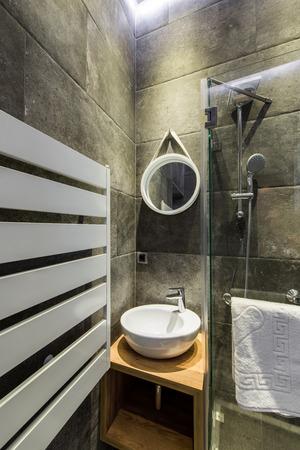 ensuite: Modern en-suite bathroom with shower cabin Stock Photo
