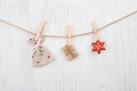 Festive concept over wooden board background Stock Photo