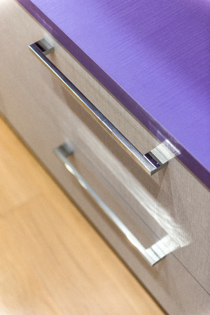 drawers: Wooden drawers with silver handles Stock Photo