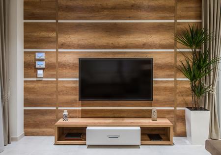 Tv shelf in wooden in luxury living room interior