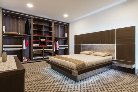 Interior design of master bedroom in luxury home 免版税图像